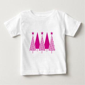 Árboles de navidad - cinta del rosa del cáncer de playera de bebé