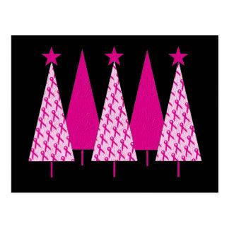 Árboles de navidad - cinta del rosa del cáncer de postales
