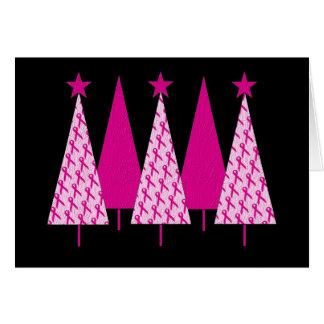 Árboles de navidad - cinta del rosa del cáncer de tarjeta de felicitación