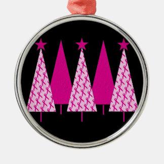 Árboles de navidad - cinta rosada adorno navideño redondo de metal