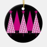 Árboles de navidad - cinta rosada adornos