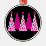 Árboles de navidad - cinta rosada ornato