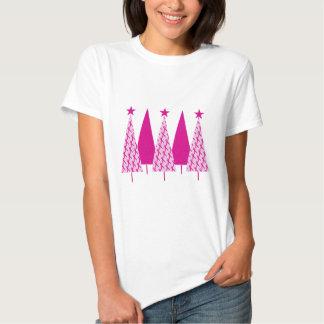 Árboles de navidad - cinta rosada playera