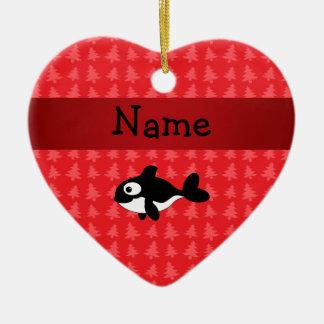 Árboles de navidad conocidos personalizados del adorno de cerámica en forma de corazón