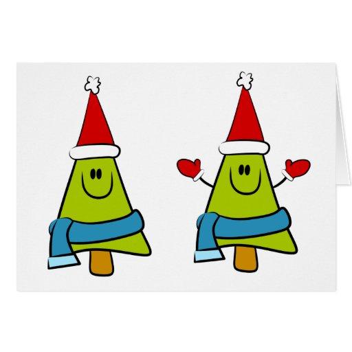 Árboles de navidad de la diversión tarjeta de felicitación