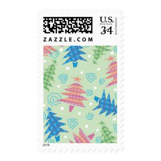 Árboles de navidad de la tela escocesa sello postal