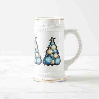 Árboles de navidad de las burbujas del azul y del  tazas de café