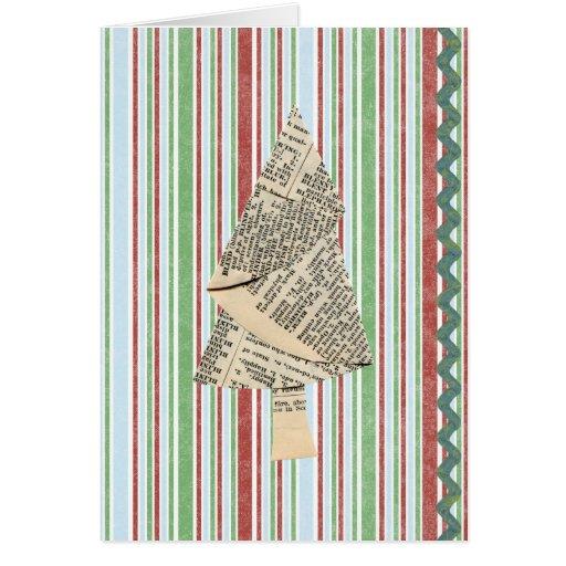 Árboles de navidad de las técnicas mixtas tarjeta de felicitación