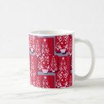 Árboles de navidad decorativos abstractos colorido tazas de café