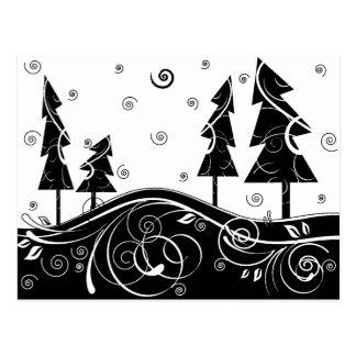 árboles de navidad del b&w tarjetas postales