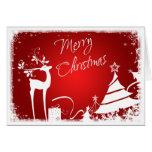 Árboles de navidad del rojo, blancos felices y tar felicitacion