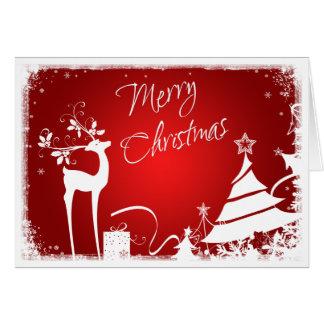 Árboles de navidad del rojo, blancos felices y tar tarjeta pequeña