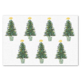 Árboles de navidad del tema de la música papel de seda pequeño