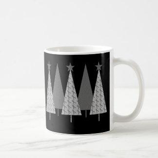 Árboles de navidad - diabetes gris de la cinta tazas