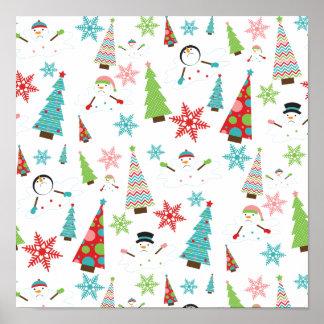 Árboles de navidad enrrollados de fusión lindos póster