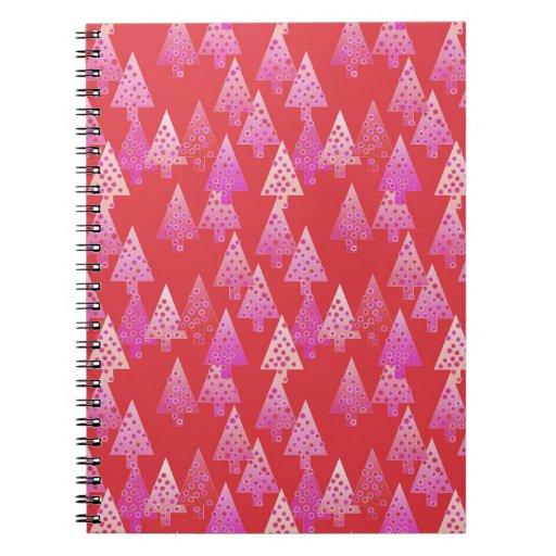 Árboles de navidad, flores, rojo moderno, rosado,  note book