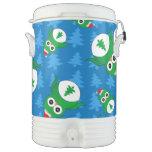 Árboles de navidad lindos del azul del búho enfriador de bebida igloo