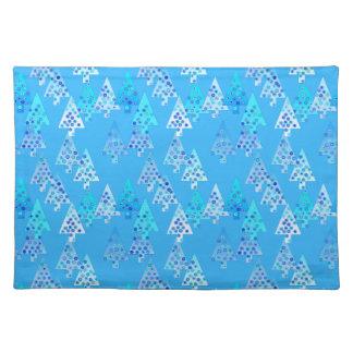 Árboles de navidad modernos de la flor - azul de mantel individual