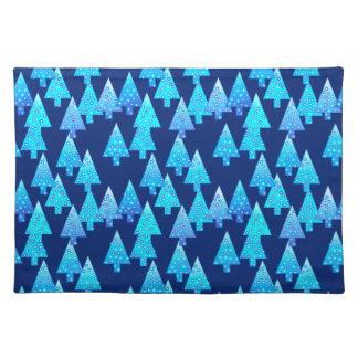 Árboles de navidad modernos de la flor - azul de manteles