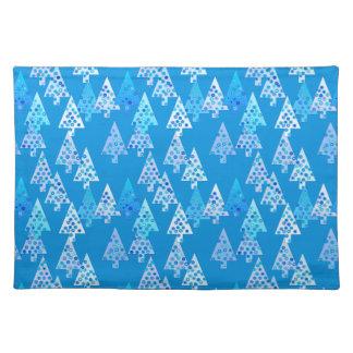 Árboles de navidad modernos de la flor - azul mantel individual