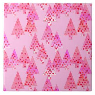 Árboles de navidad modernos de la flor - rosa en azulejo cuadrado grande