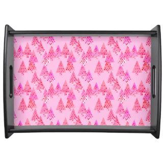 Árboles de navidad modernos de la flor - rosa en bandeja