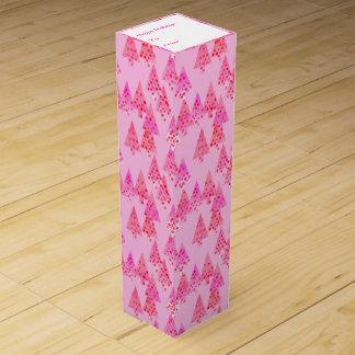 Árboles de navidad modernos de la flor - rosa en cajas para vino