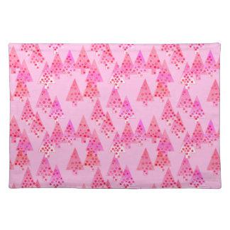 Árboles de navidad modernos de la flor - rosa en manteles individuales