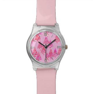 Árboles de navidad modernos de la flor - rosa en relojes