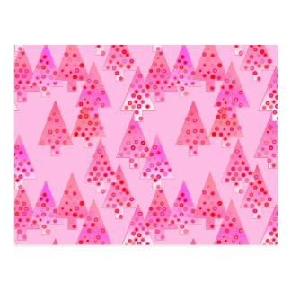 Árboles de navidad modernos de la flor - rosa en tarjeta postal