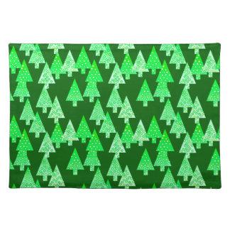Árboles de navidad modernos de la flor - verde del manteles individuales