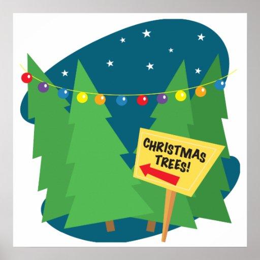 Árboles de navidad para la venta póster
