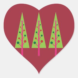 Árboles de navidad pegatina en forma de corazón