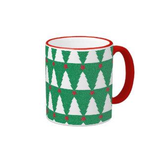 Árboles de navidad relucientes taza de dos colores