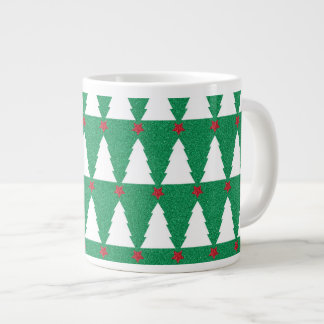 Árboles de navidad relucientes taza grande