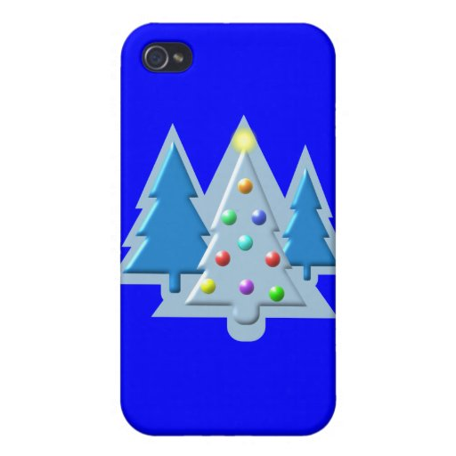 Árboles de navidad resumidos con diseño de las luc iPhone 4 funda