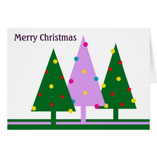 Árboles de navidad retros tarjeta de felicitación