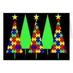 Árboles de navidad - rompecabezas tarjeton