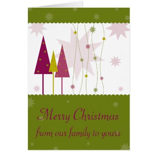 Árboles de navidad rosados y verdes 2 tarjeta de felicitación