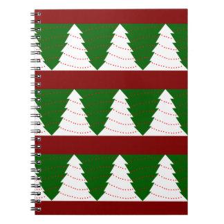 Árboles de navidad verdes/blancos libreta espiral