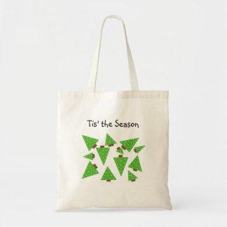 Árboles de navidad verdes del lunar bolsa tela barata