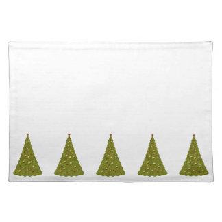 Árboles de navidad verdes y navidad blanco manteles individuales