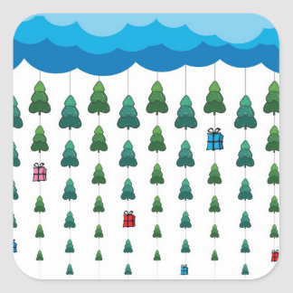 Árboles de navidad y lluvia de los regalos pegatina cuadrada
