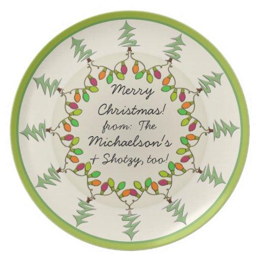 Árboles de navidad y luces (placa personalizada platos