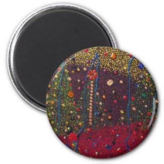 Árboles de navidad y pintura de las gemas imán redondo 5 cm
