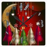 Árboles de navidad y reloj cuadrados de las chuche