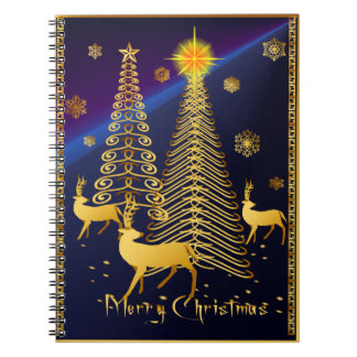 Árboles de navidad y reno del oro libretas