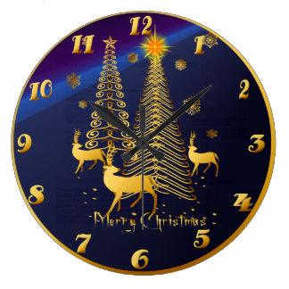 Árboles de navidad y reno del oro reloj redondo grande