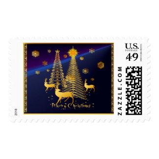 Árboles de navidad y reno del oro franqueo