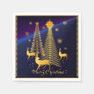 Árboles de navidad y reno del oro servilleta desechable